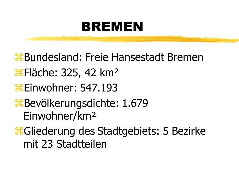 BREMEN zBundesland: Freie Hansestadt Bremen zFläche: 325, 42 km² zEinwohner: 547.193 zBevölkerungsdichte: 1.679 Einwohner/km² zGliederung des Stadtgebiets: 5 Bezirke mit 23 Stadtteilen