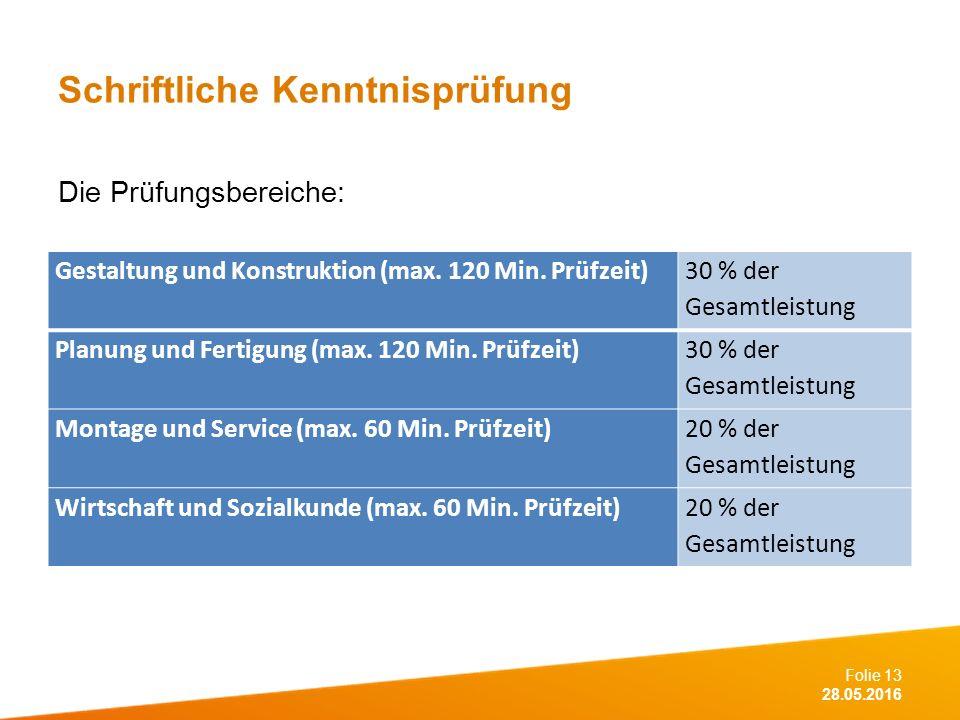 Folie 13 28.05.2016 Schriftliche Kenntnisprüfung Die Prüfungsbereiche: Gestaltung und Konstruktion (max.