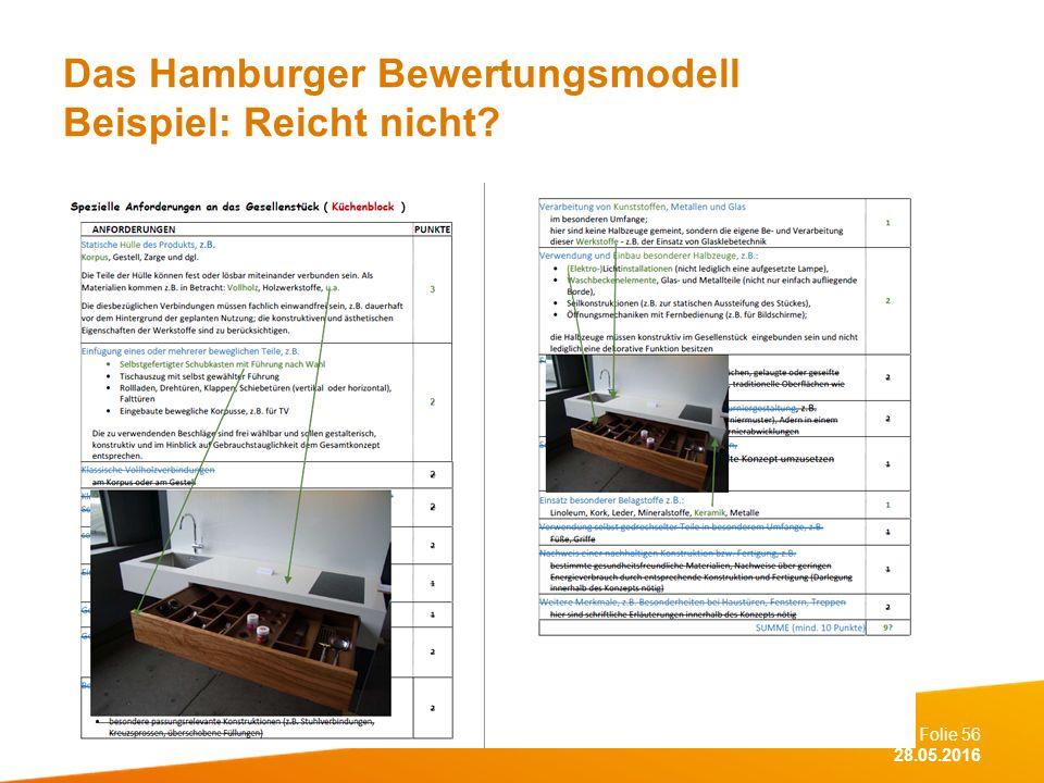 Folie 56 28.05.2016 Das Hamburger Bewertungsmodell Beispiel: Reicht nicht