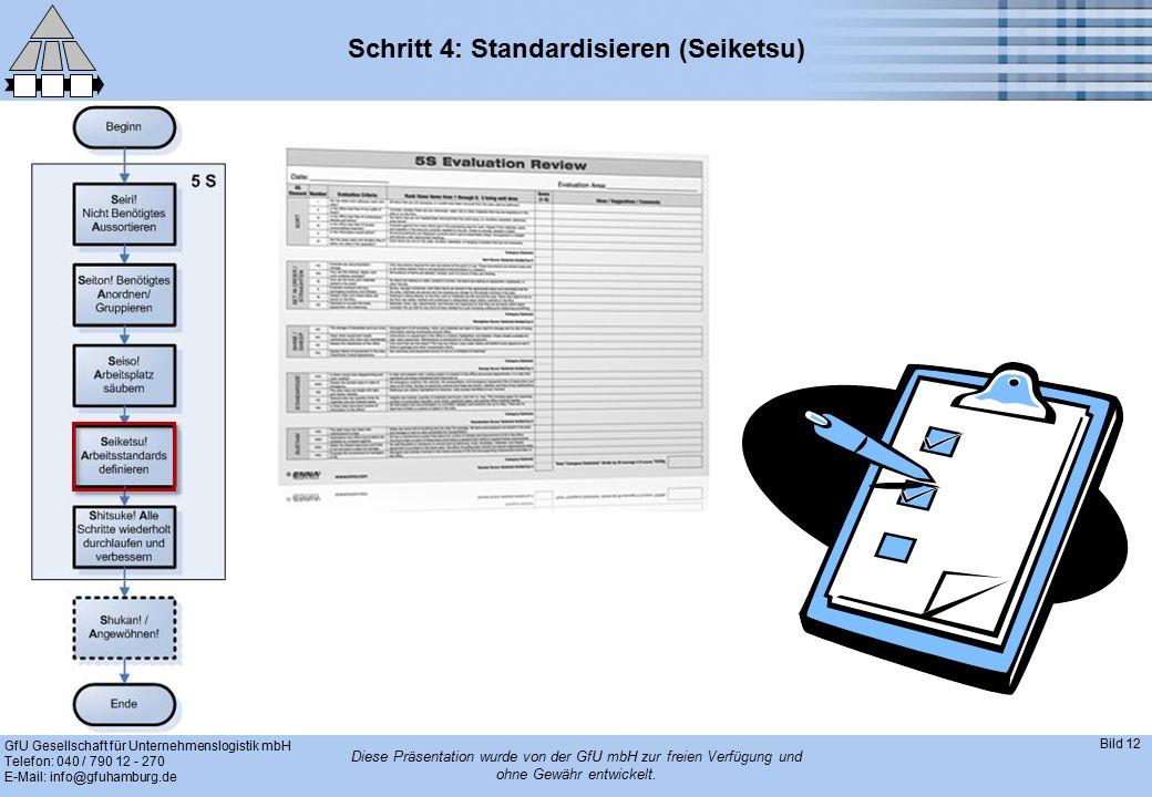 GfU Gesellschaft für Unternehmenslogistik mbH Telefon: 040 / 790 12 - 270 E-Mail: info@gfuhamburg.de Bild 12 Diese Präsentation wurde von der GfU mbH zur freien Verfügung und ohne Gewähr entwickelt.