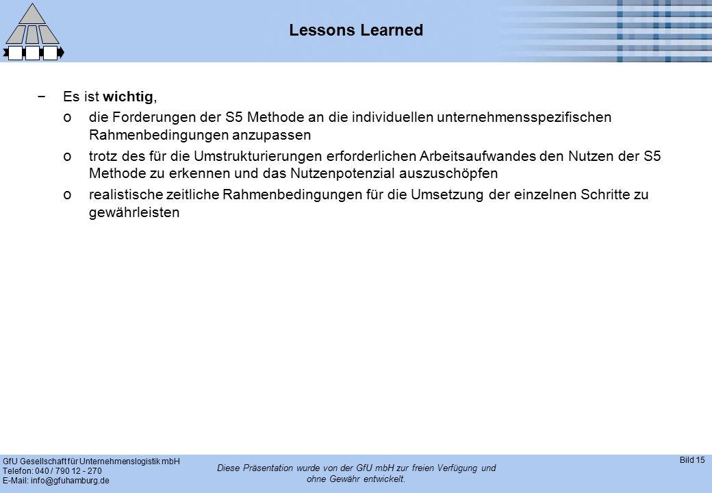 GfU Gesellschaft für Unternehmenslogistik mbH Telefon: 040 / 790 12 - 270 E-Mail: info@gfuhamburg.de Bild 15 Diese Präsentation wurde von der GfU mbH zur freien Verfügung und ohne Gewähr entwickelt.
