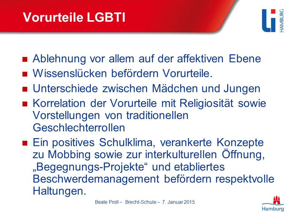 Vorurteile LGBTI Ablehnung vor allem auf der affektiven Ebene Wissenslücken befördern Vorurteile.