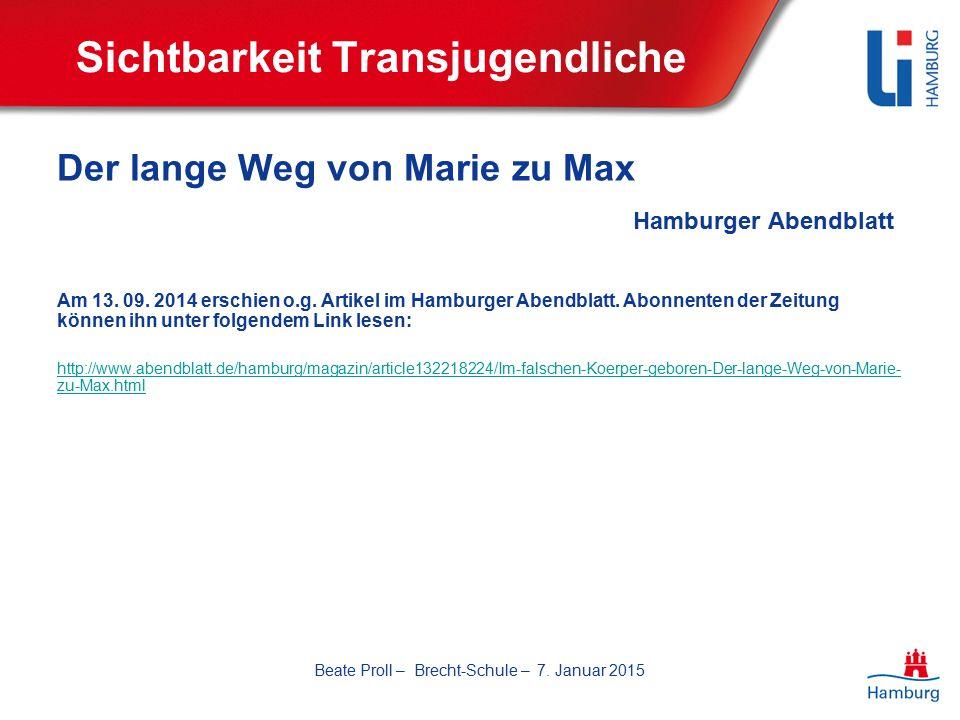 Sichtbarkeit Transjugendliche Der lange Weg von Marie zu Max Hamburger Abendblatt Am 13.
