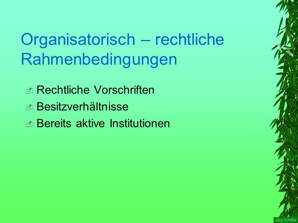 Organisatorisch – rechtliche Rahmenbedingungen  Rechtliche Vorschriften  Besitzverhältnisse  Bereits aktive Institutionen
