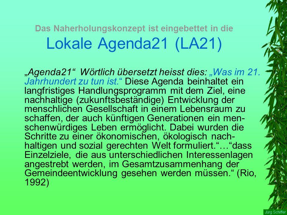 """Das Naherholungskonzept ist eingebettet in die Lokale Agenda21 (LA21) """"Agenda21"""" Wörtlich übersetzt heisst dies: """"Was im 21. Jahrhundert zu tun ist."""""""