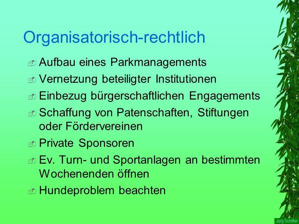 Organisatorisch-rechtlich  Aufbau eines Parkmanagements  Vernetzung beteiligter Institutionen  Einbezug bürgerschaftlichen Engagements  Schaffung von Patenschaften, Stiftungen oder Fördervereinen  Private Sponsoren  Ev.