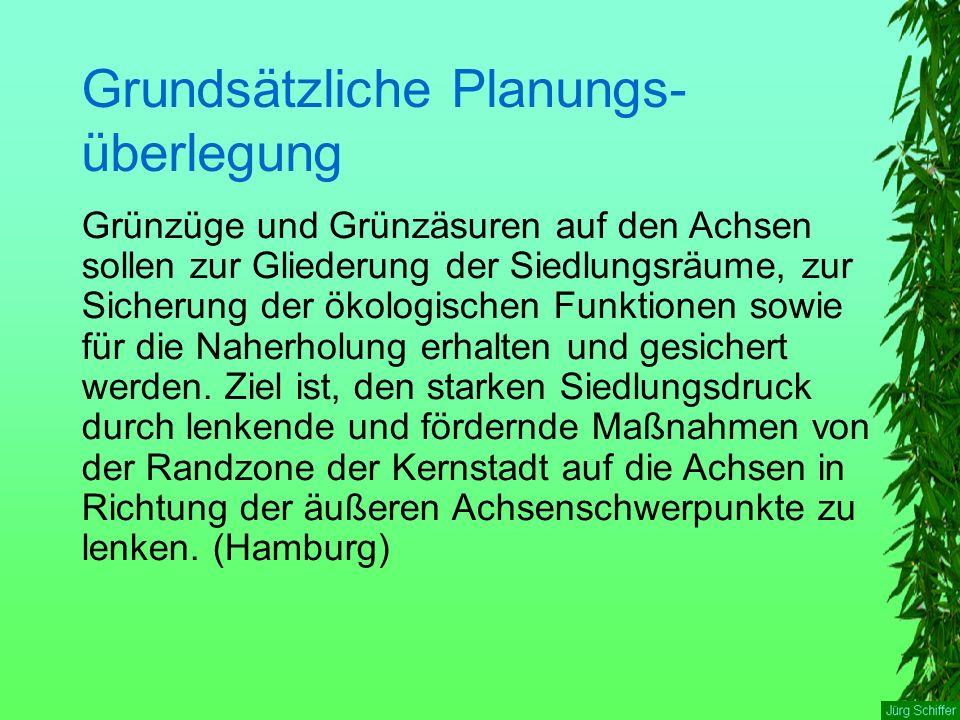 Grundsätzliche Planungs- überlegung Grünzüge und Grünzäsuren auf den Achsen sollen zur Gliederung der Siedlungsräume, zur Sicherung der ökologischen Funktionen sowie für die Naherholung erhalten und gesichert werden.