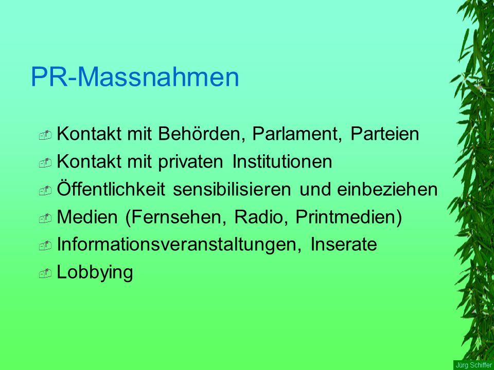 PR-Massnahmen  Kontakt mit Behörden, Parlament, Parteien  Kontakt mit privaten Institutionen  Öffentlichkeit sensibilisieren und einbeziehen  Medien (Fernsehen, Radio, Printmedien)  Informationsveranstaltungen, Inserate  Lobbying
