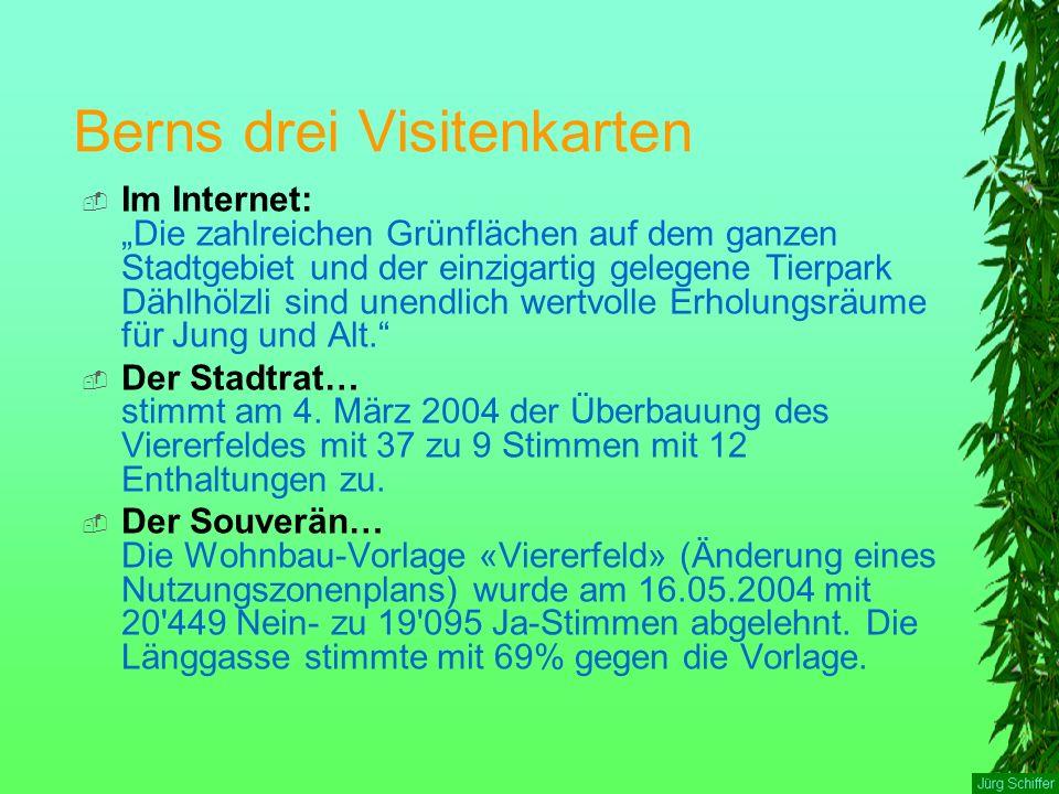 """Berns drei Visitenkarten  Im Internet: """"Die zahlreichen Grünflächen auf dem ganzen Stadtgebiet und der einzigartig gelegene Tierpark Dählhölzli sind unendlich wertvolle Erholungsräume für Jung und Alt.  Der Stadtrat… stimmt am 4."""