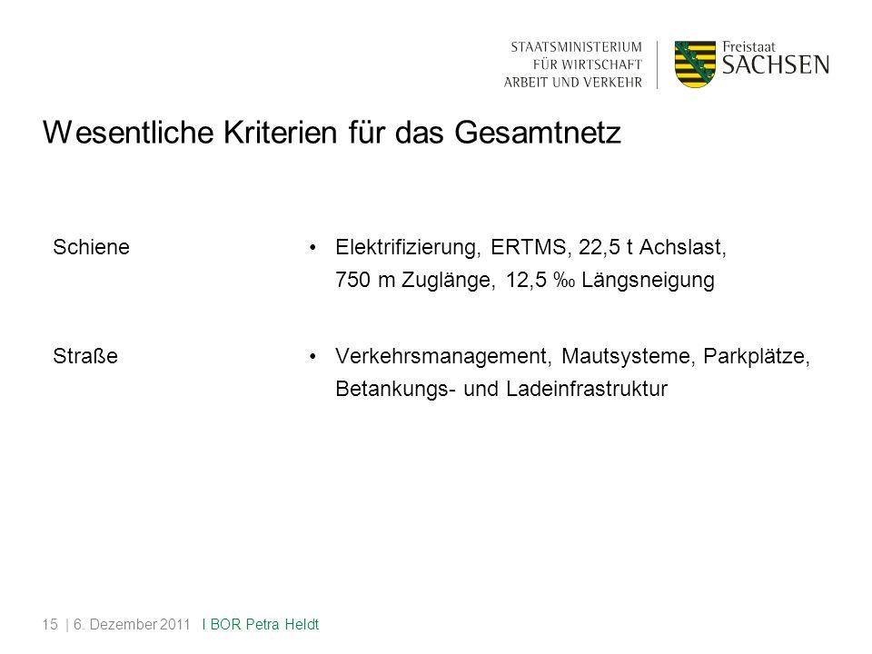 Wesentliche Kriterien für das Gesamtnetz Schiene Elektrifizierung, ERTMS, 22,5 t Achslast, 750 m Zuglänge, 12,5 ‰ Längsneigung Straße Verkehrsmanagement, Mautsysteme, Parkplätze, Betankungs- und Ladeinfrastruktur | 6.