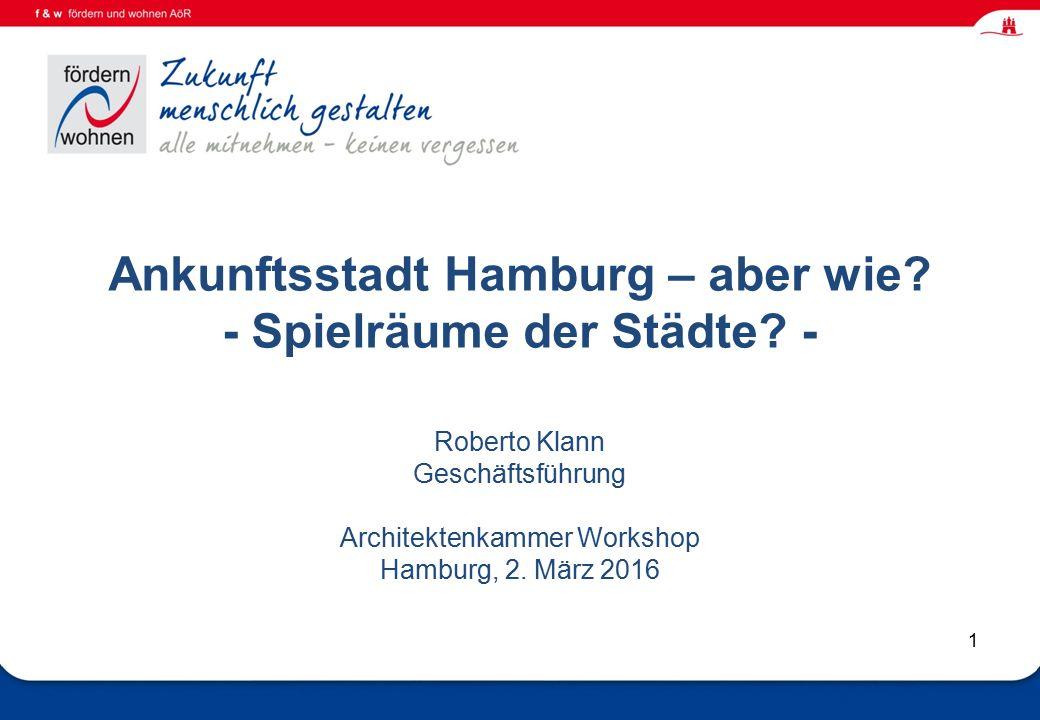 Wohnen und Eingliederungshilfe 1 Ankunftsstadt Hamburg – aber wie.