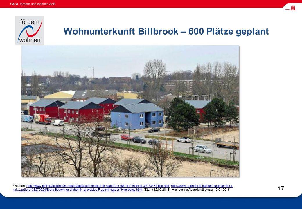 Wohnen und Eingliederungshilfe 17 Wohnunterkunft Billbrook – 600 Plätze geplant Quellen: http://www.bild.de/regional/hamburg/gebaeude/container-stadt-fuer-600-fluechtlinge-39273434.bild.html, http://www.abendblatt.de/hamburg/hamburg- mitte/article136279224/Erste-Bewohner-ziehen-in-groesstes-Fluechtlingsdorf-Hamburgs.html (Stand 12.02.2015), Hamburger Abendblatt, Ausg.