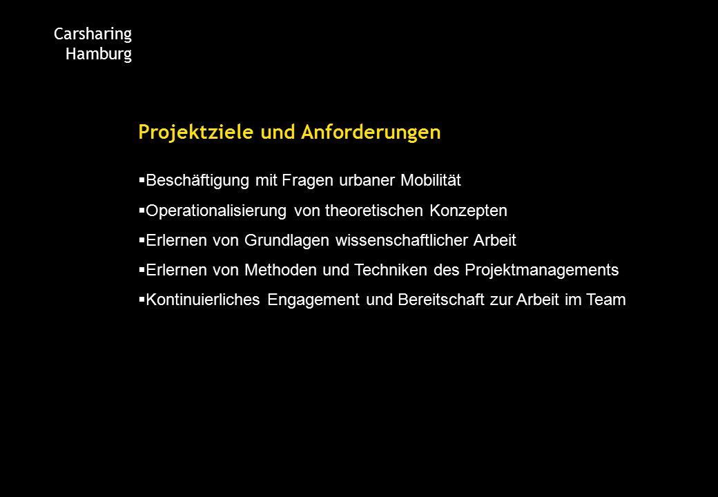Carsharing Hamburg Projektziele und Anforderungen  Beschäftigung mit Fragen urbaner Mobilität  Operationalisierung von theoretischen Konzepten  Erlernen von Grundlagen wissenschaftlicher Arbeit  Erlernen von Methoden und Techniken des Projektmanagements  Kontinuierliches Engagement und Bereitschaft zur Arbeit im Team