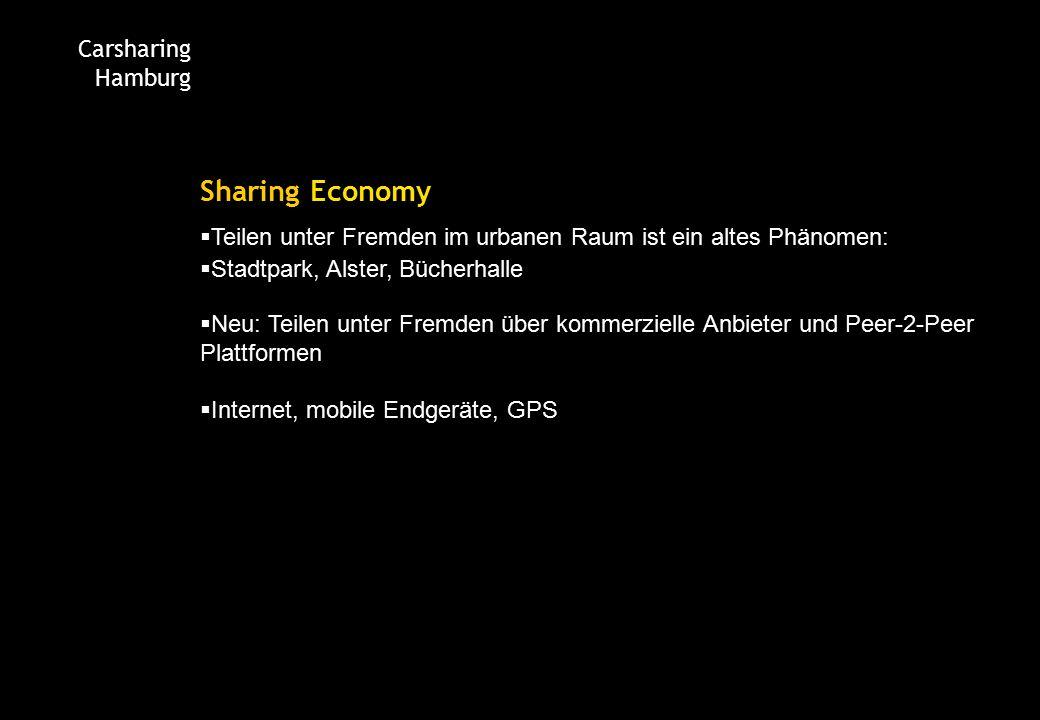 Carsharing Hamburg Sharing Economy  Teilen unter Fremden im urbanen Raum ist ein altes Phänomen:  Stadtpark, Alster, Bücherhalle  Neu: Teilen unter Fremden über kommerzielle Anbieter und Peer-2-Peer Plattformen  Internet, mobile Endgeräte, GPS
