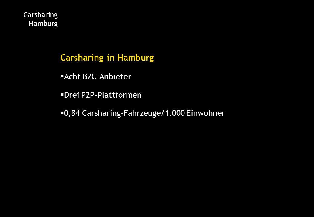Carsharing Hamburg Carsharing in Hamburg  Acht B2C-Anbieter  Drei P2P-Plattformen  0,84 Carsharing-Fahrzeuge/1.000 Einwohner
