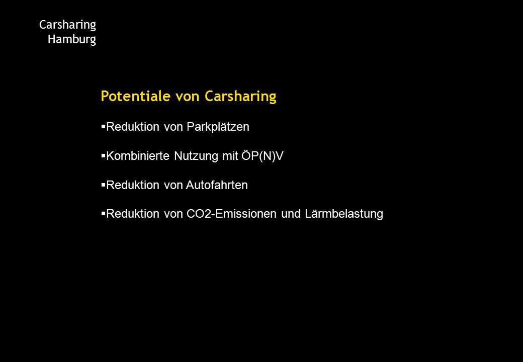 Carsharing Hamburg Potentiale von Carsharing  Reduktion von Parkplätzen  Kombinierte Nutzung mit ÖP(N)V  Reduktion von Autofahrten  Reduktion von CO2-Emissionen und Lärmbelastung