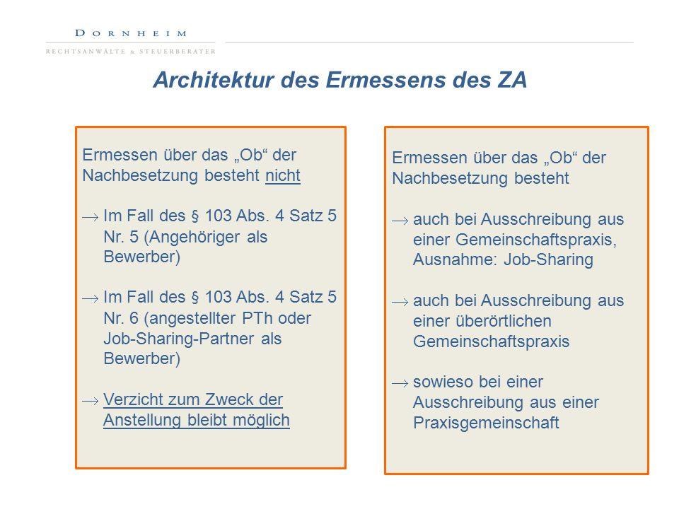 """Architektur des Ermessens des ZA KritischUnkritisch Ermessen über das """"Ob der Nachbesetzung besteht nicht  Im Fall des § 103 Abs."""