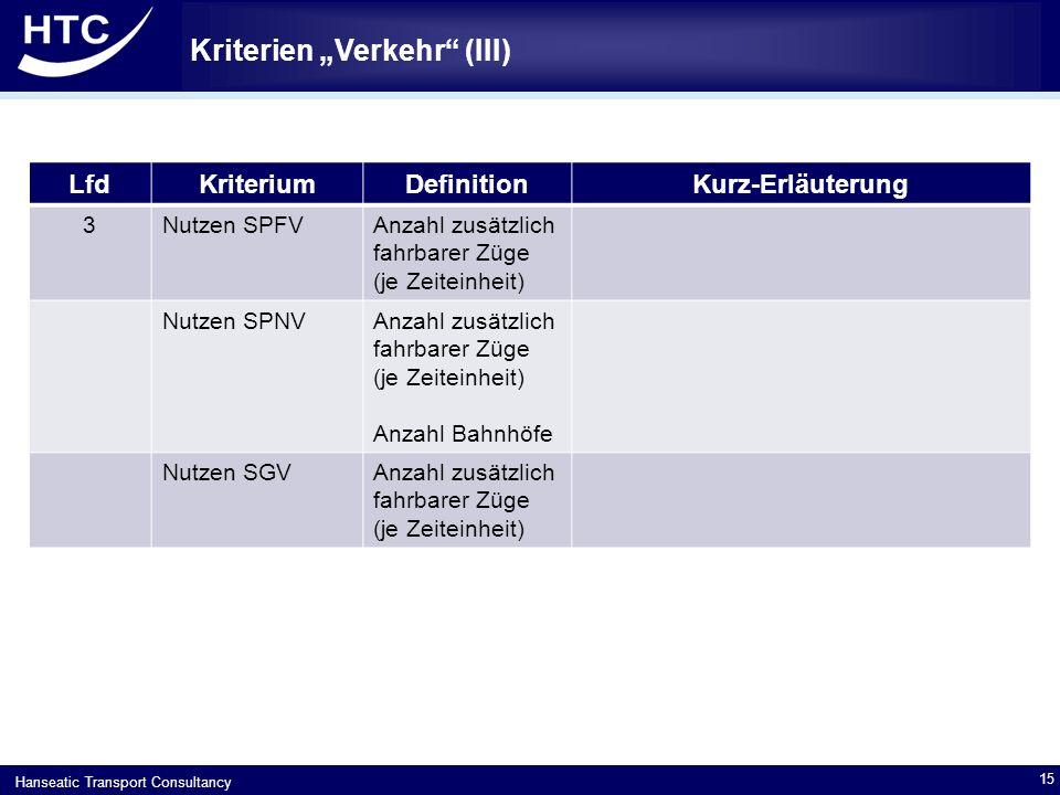 """Hanseatic Transport Consultancy Kriterien """"Verkehr (III) 15 LfdKriteriumDefinitionKurz-Erläuterung 3Nutzen SPFVAnzahl zusätzlich fahrbarer Züge (je Zeiteinheit) Nutzen SPNVAnzahl zusätzlich fahrbarer Züge (je Zeiteinheit) Anzahl Bahnhöfe Nutzen SGVAnzahl zusätzlich fahrbarer Züge (je Zeiteinheit)"""