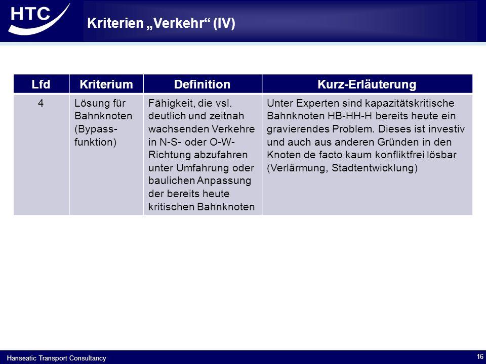"""Hanseatic Transport Consultancy Kriterien """"Verkehr (IV) 16 LfdKriteriumDefinitionKurz-Erläuterung 4Lösung für Bahnknoten (Bypass- funktion) Fähigkeit, die vsl."""