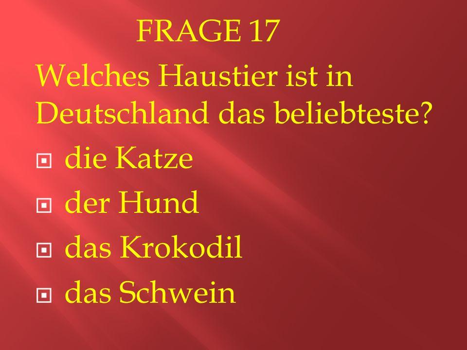 FRAGE 17 Welches Haustier ist in Deutschland das beliebteste.