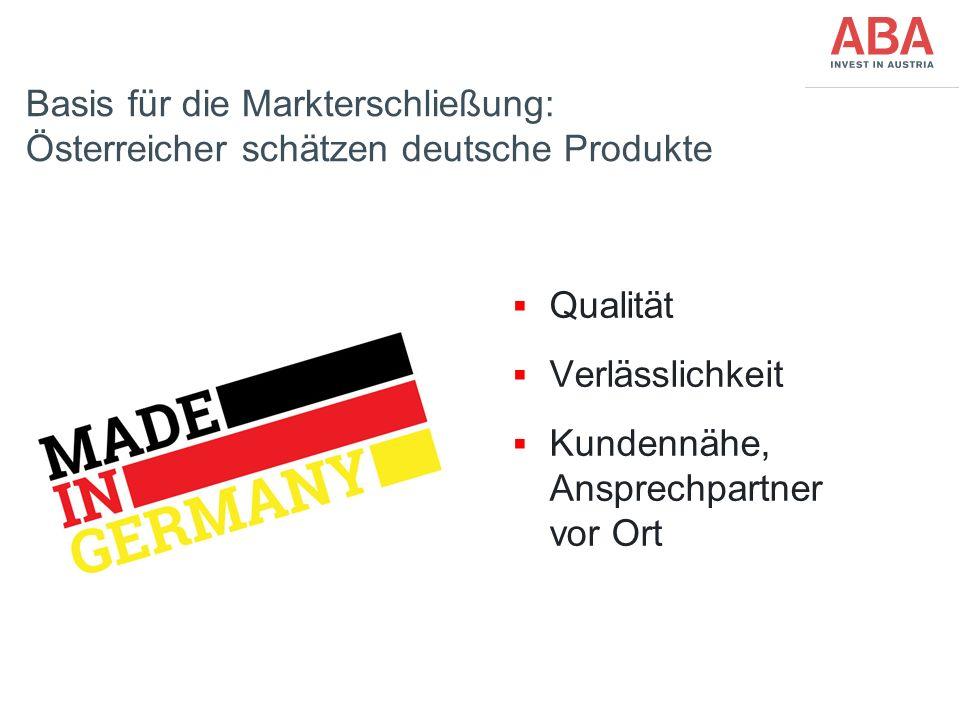 FünfteEbene  Qualität  Verlässlichkeit  Kundennähe, Ansprechpartner vor Ort Basis für die Markterschließung: Österreicher schätzen deutsche Produkte
