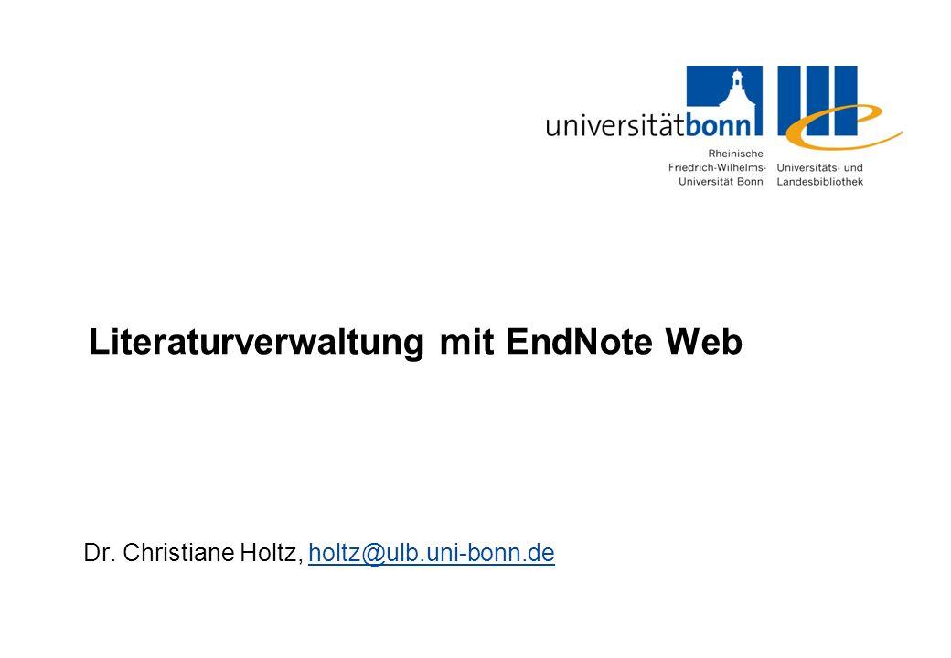 Literaturverwaltung mit EndNote Web Dr.