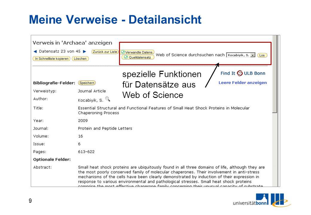 9 Meine Verweise - Detailansicht spezielle Funktionen für Datensätze aus Web of Science