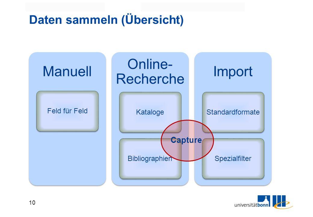 10 Daten sammeln (Übersicht) Manuell Feld für Feld Online- Recherche KatalogeBibliographien Import StandardformateSpezialfilter Capture