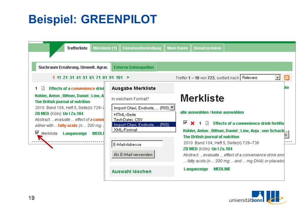 19 Beispiel: GREENPILOT