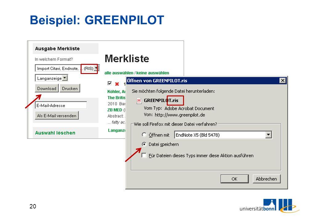 20 Beispiel: GREENPILOT