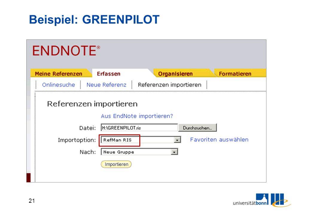 21 Beispiel: GREENPILOT