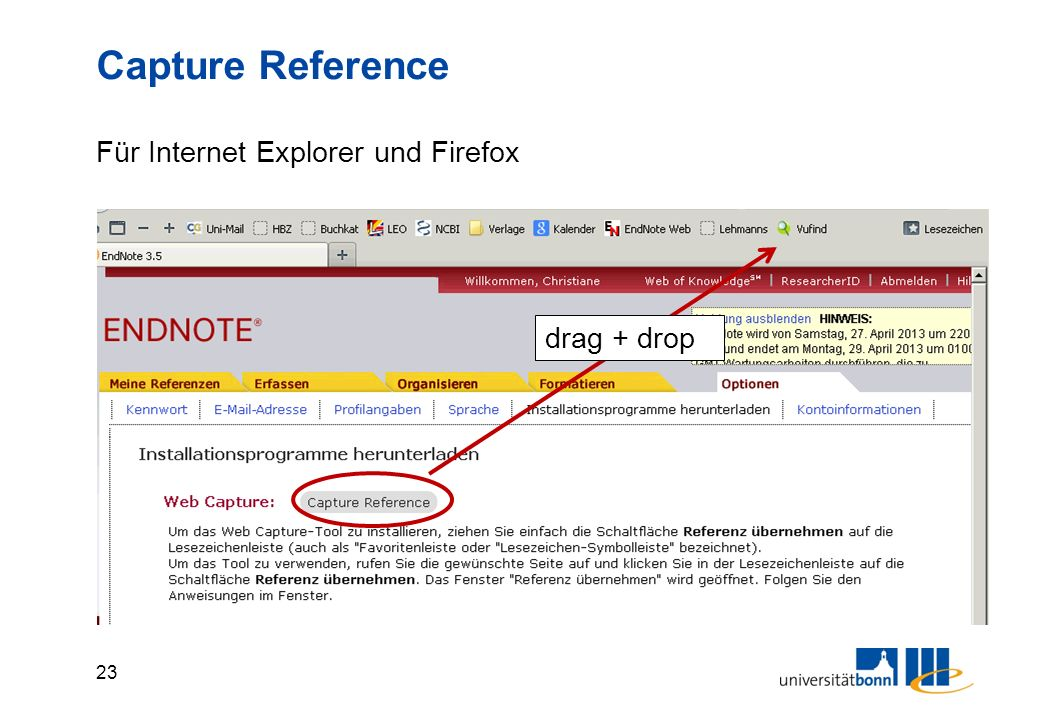 23 Capture Reference Für Internet Explorer und Firefox drag + drop