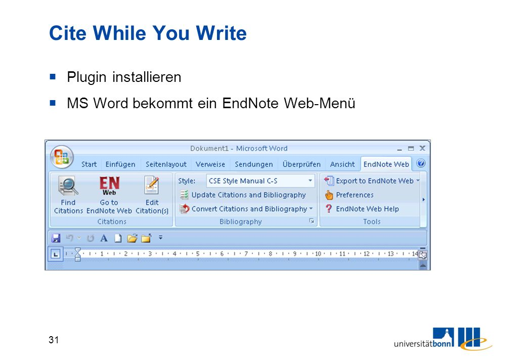 31 Cite While You Write  Plugin installieren  MS Word bekommt ein EndNote Web-Menü