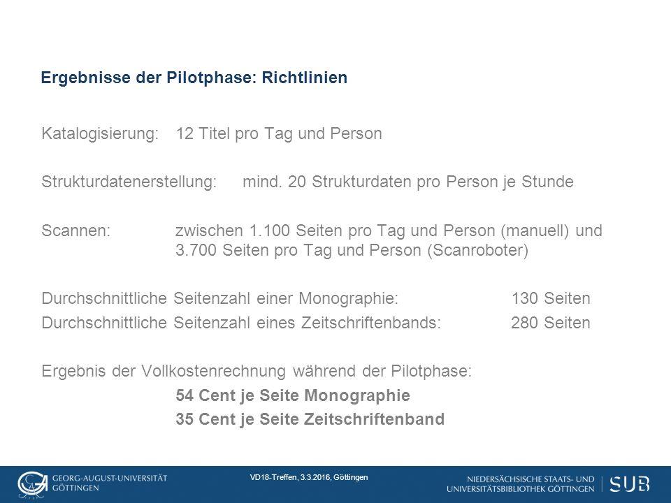 VD18-Treffen, 3.3.2016, Göttingen Ergebnisse der Pilotphase: Richtlinien Katalogisierung:12 Titel pro Tag und Person Strukturdatenerstellung:mind.