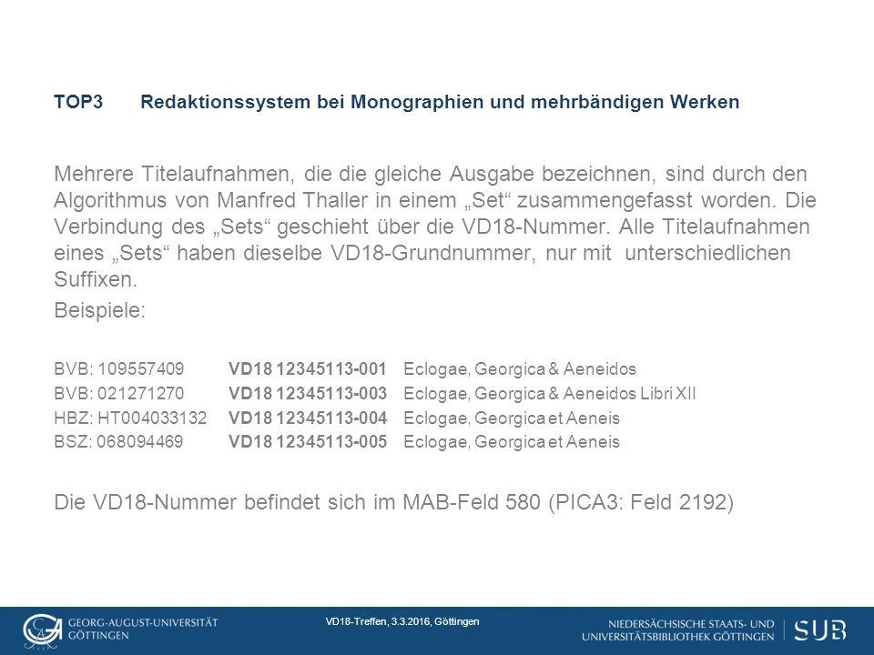"""VD18-Treffen, 3.3.2016, Göttingen TOP3Redaktionssystem bei Monographien und mehrbändigen Werken Mehrere Titelaufnahmen, die die gleiche Ausgabe bezeichnen, sind durch den Algorithmus von Manfred Thaller in einem """"Set zusammengefasst worden."""