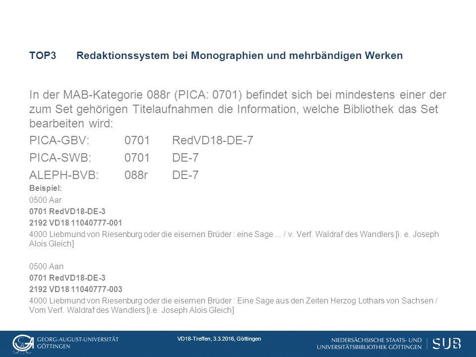 VD18-Treffen, 3.3.2016, Göttingen TOP3Redaktionssystem bei Monographien und mehrbändigen Werken In der MAB-Kategorie 088r (PICA: 0701) befindet sich bei mindestens einer der zum Set gehörigen Titelaufnahmen die Information, welche Bibliothek das Set bearbeiten wird: PICA-GBV:0701RedVD18-DE-7 PICA-SWB:0701DE-7 ALEPH-BVB:088rDE-7 Beispiel: 0500 Aar 0701 RedVD18-DE-3 2192 VD18 11040777-001 4000 Liebmund von Riesenburg oder die eisernen Brüder : eine Sage...