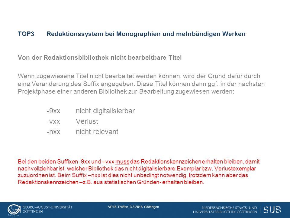 VD18-Treffen, 3.3.2016, Göttingen TOP3Redaktionssystem bei Monographien und mehrbändigen Werken Von der Redaktionsbibliothek nicht bearbeitbare Titel Wenn zugewiesene Titel nicht bearbeitet werden können, wird der Grund dafür durch eine Veränderung des Suffix angegeben.