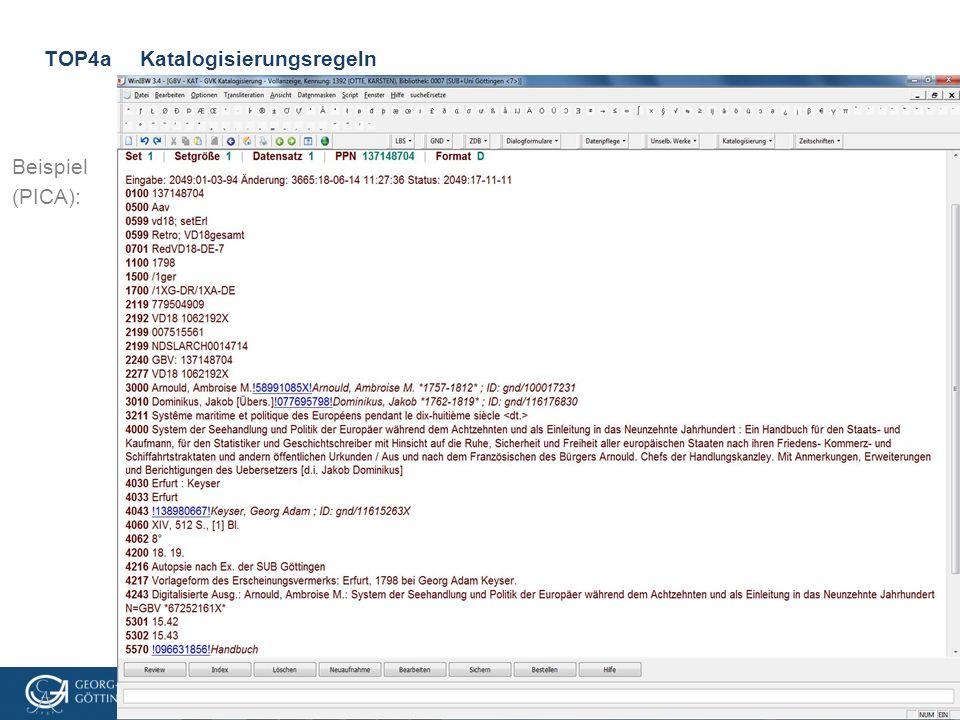 VD18-Treffen, 3.3.2016, Göttingen TOP4aKatalogisierungsregeln Beispiel (PICA):