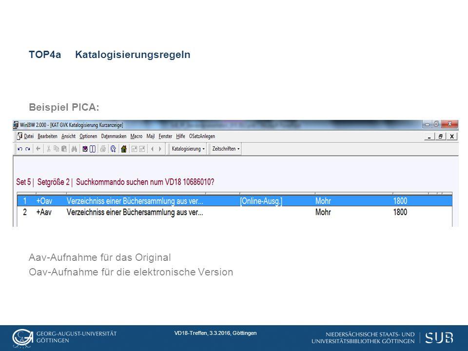 VD18-Treffen, 3.3.2016, Göttingen TOP4aKatalogisierungsregeln Beispiel PICA: Aav-Aufnahme für das Original Oav-Aufnahme für die elektronische Version