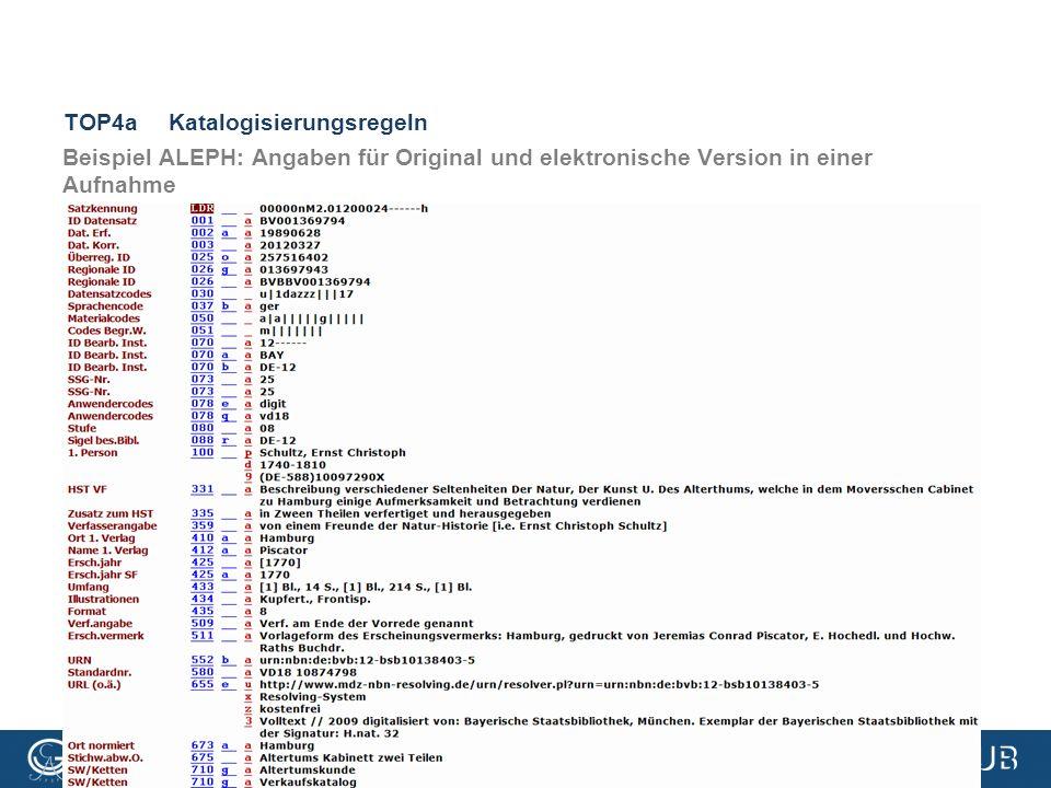 VD18-Treffen, 3.3.2016, Göttingen TOP4aKatalogisierungsregeln Beispiel ALEPH: Angaben für Original und elektronische Version in einer Aufnahme