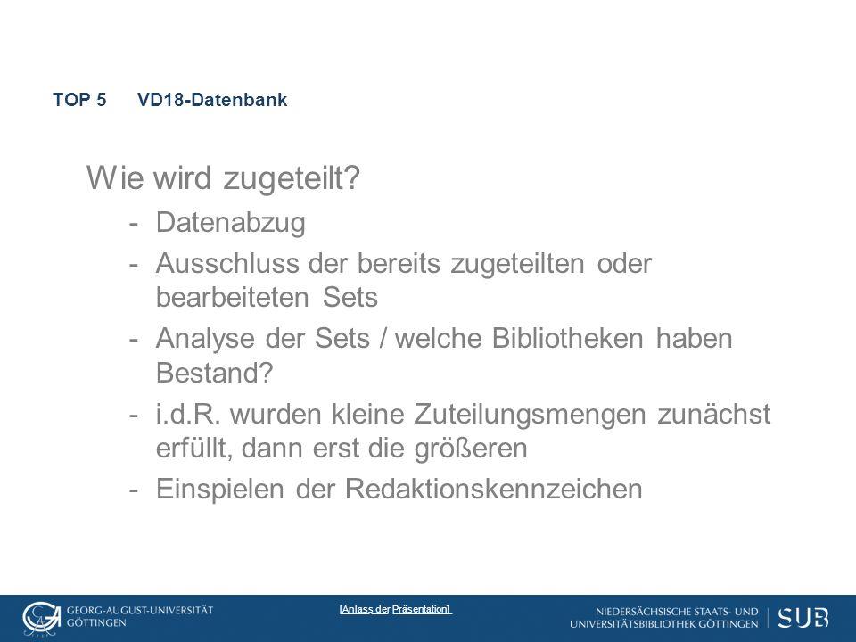 TOP 5VD18-Datenbank Wie wird zugeteilt.