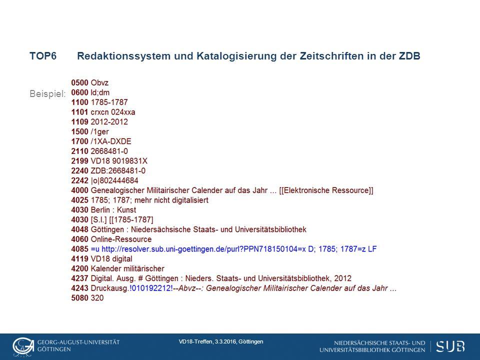 VD18-Treffen, 3.3.2016, Göttingen TOP6Redaktionssystem und Katalogisierung der Zeitschriften in der ZDB Beispiel: