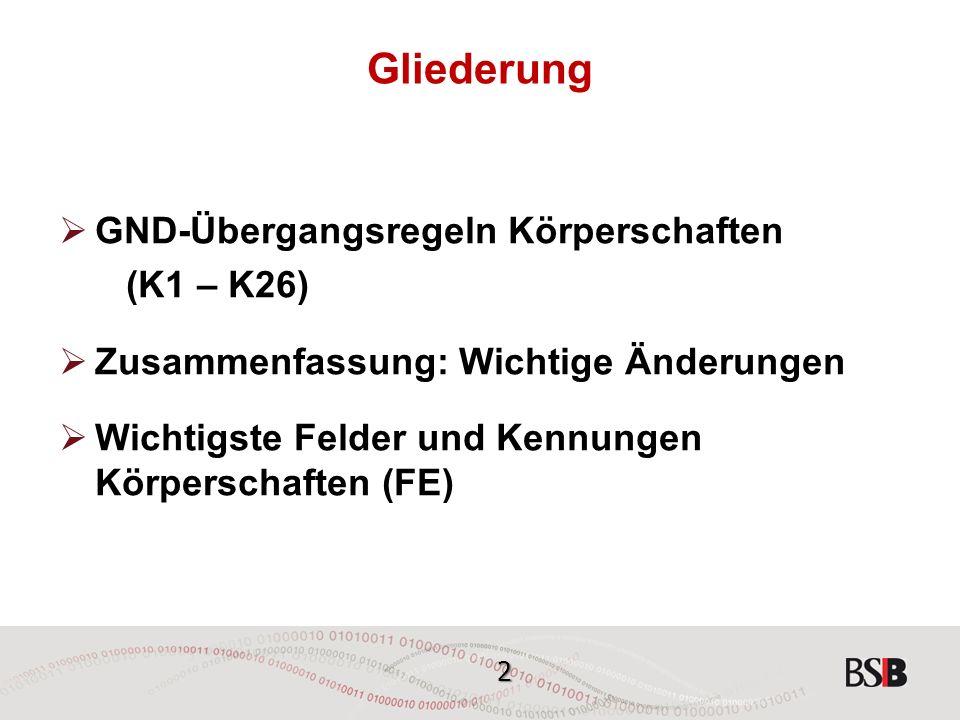 13 GND-Übergangsregeln - Körperschaften K4 Schreibweise  Übernahme der selbst gebrauchten Schreibweise  Ausnahme: RAK-WB-Regeln bezüglich Groß- u.