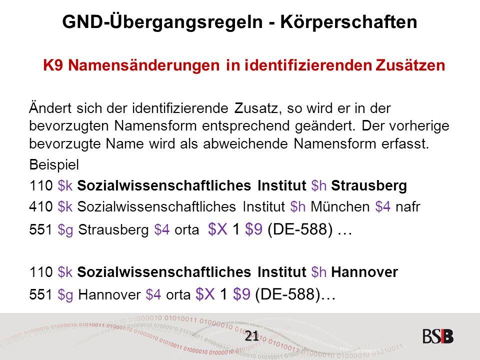 21 GND-Übergangsregeln - Körperschaften K9 Namensänderungen in identifizierenden Zusätzen Ändert sich der identifizierende Zusatz, so wird er in der bevorzugten Namensform entsprechend geändert.
