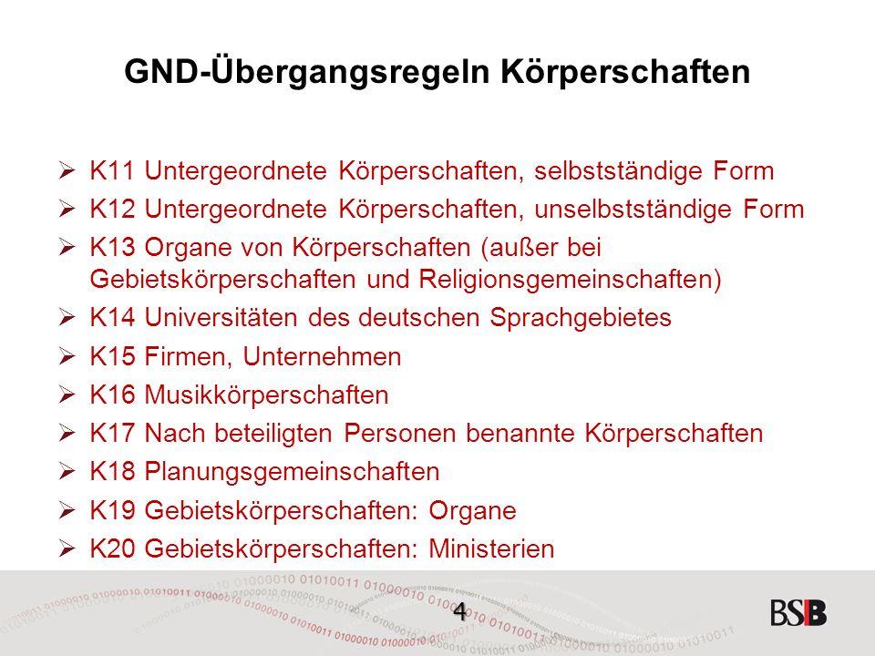 35 GND-Übergangsregeln Körperschaften K12 Untergeordnete Körperschaften, unselbstständige Form  Eine untergeordnete Körperschaft, deren bevorzugte Namensform eine Unterordnung ausdrückt, wird unselbstständig angesetzt, beginnend mit dem Namen der übergeordneten Körperschaft.