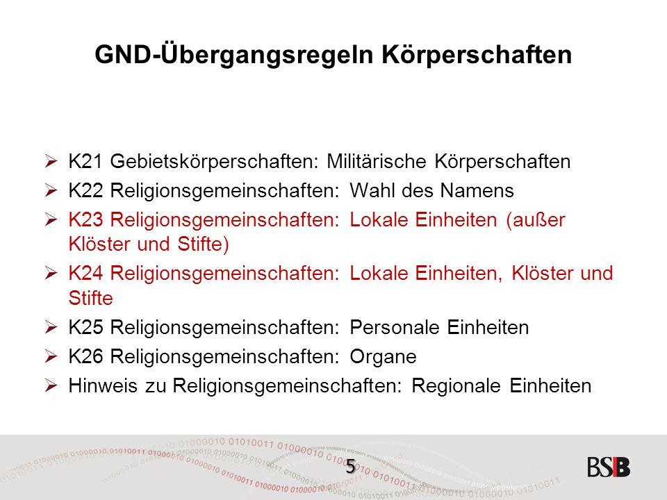 36 GND-Übergangsregeln Körperschaften K12 Untergeordnete Körperschaften, unselbstständige Form  Die selbstständige Namensform wird als abweichende Namensform nach den allgemeinen Regeln erfasst (= identifizierende Zusätze nur bei Gleichnamigkeit, Ort als vorrangig gewählter ident.