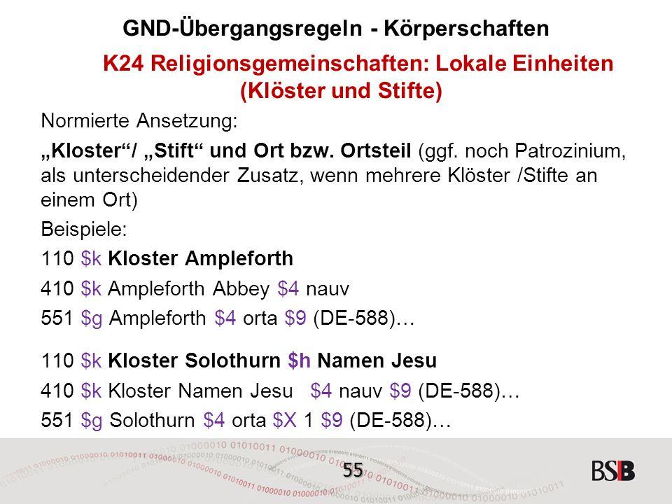 """55 GND-Übergangsregeln - Körperschaften K24 Religionsgemeinschaften: Lokale Einheiten (Klöster und Stifte) Normierte Ansetzung: """"Kloster / """"Stift und Ort bzw."""