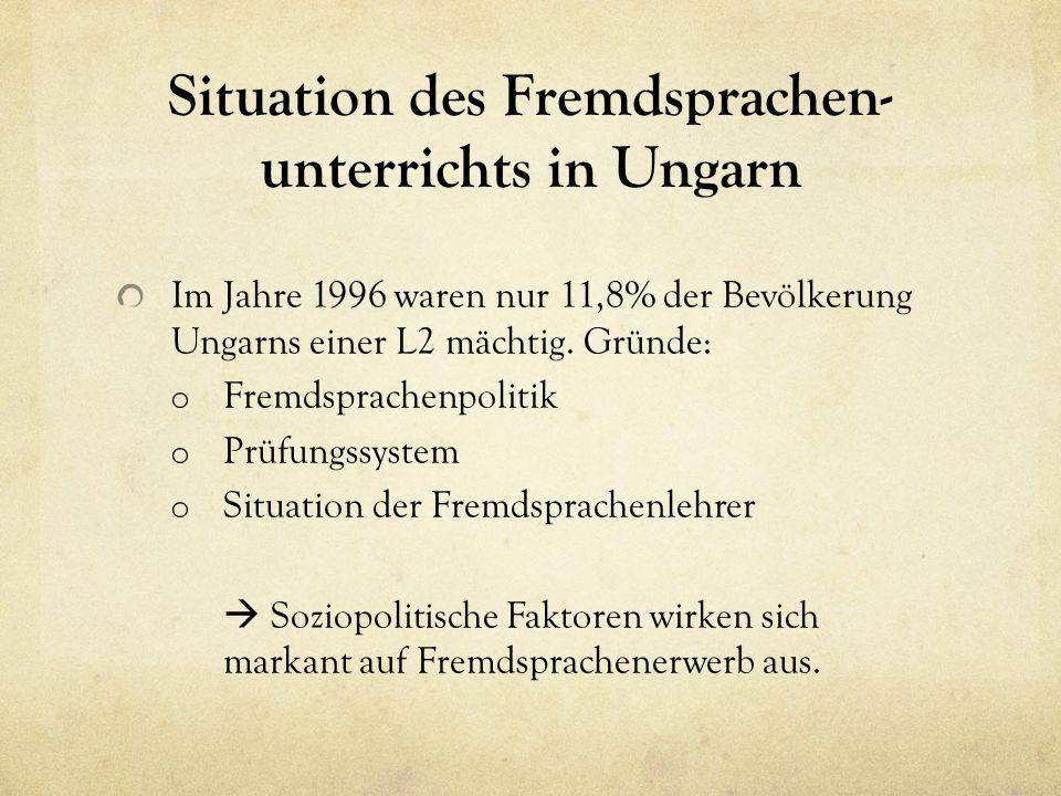 Situation des Fremdsprachen- unterrichts in Ungarn Im Jahre 1996 waren nur 11,8% der Bevölkerung Ungarns einer L2 mächtig.