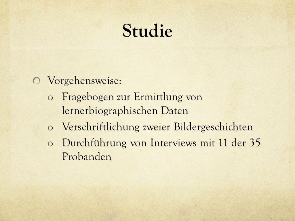Studie Vorgehensweise: o Fragebogen zur Ermittlung von lernerbiographischen Daten o Verschriftlichung zweier Bildergeschichten o Durchführung von Interviews mit 11 der 35 Probanden
