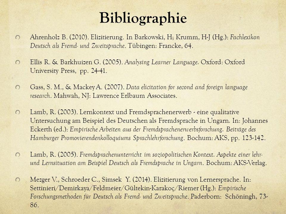 Bibliographie Ahrenholz B. (2010). Elizitierung.